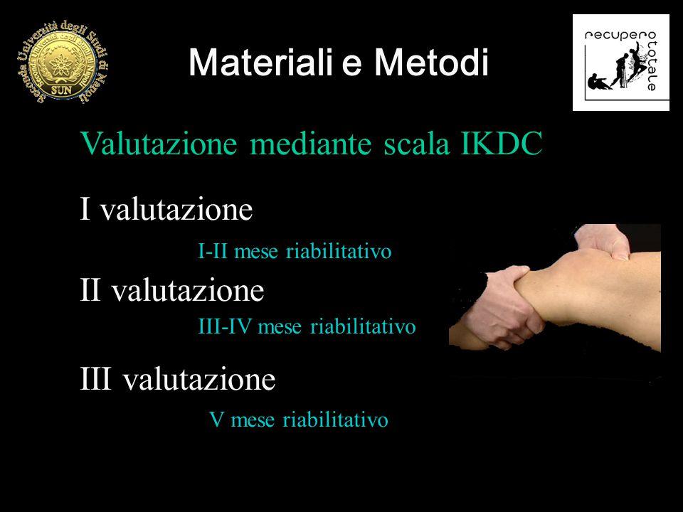 Valutazione mediante scala IKDC I valutazione II valutazione III valutazione Materiali e Metodi I-II mese riabilitativo III-IV mese riabilitativo V me