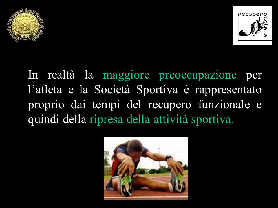 In realtà la maggiore preoccupazione per l'atleta e la Società Sportiva è rappresentato proprio dai tempi del recupero funzionale e quindi della ripre