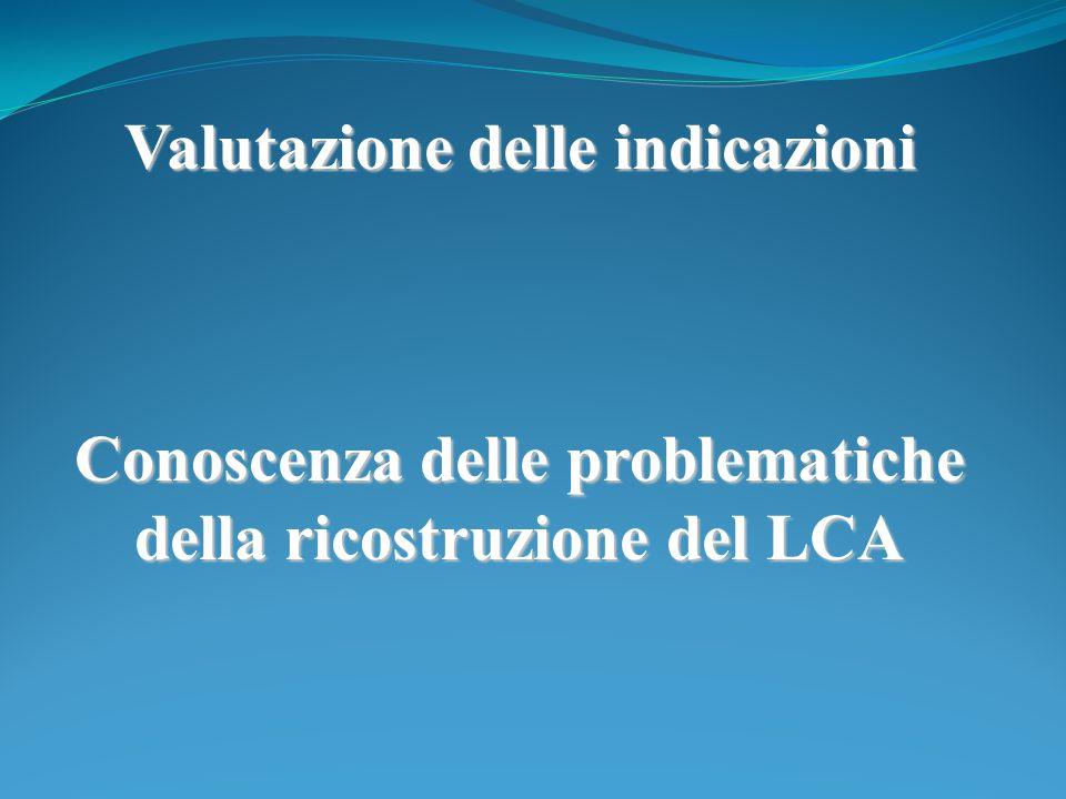 Valutazione delle indicazioni Conoscenza delle problematiche della ricostruzione del LCA