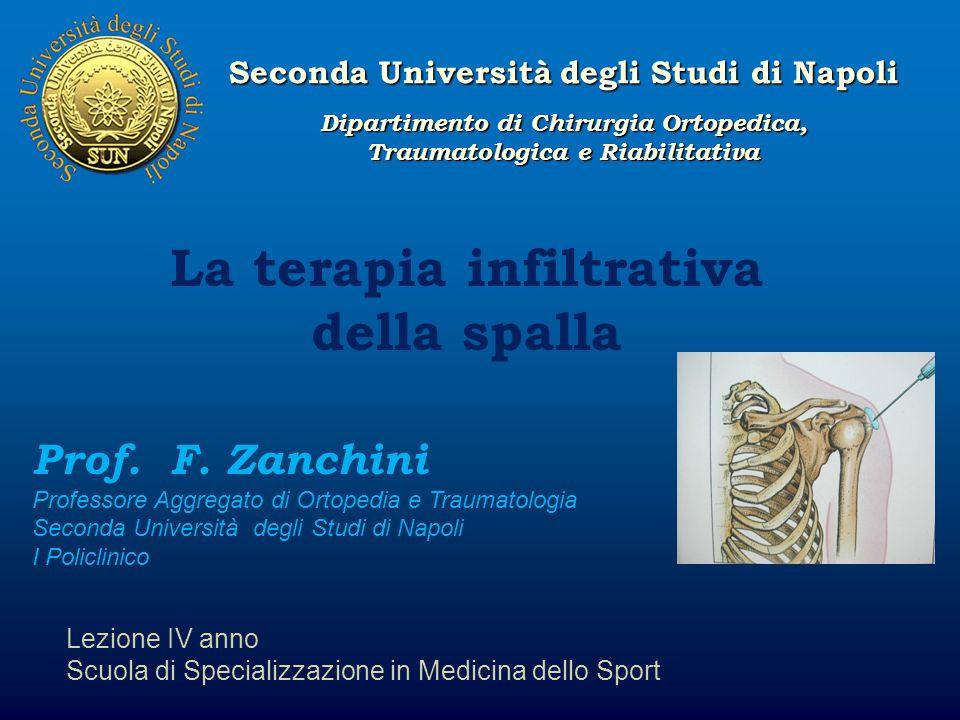 Seconda Università degli Studi di Napoli La terapia infiltrativa della spalla Lezione IV anno Scuola di Specializzazione in Medicina dello Sport Prof.