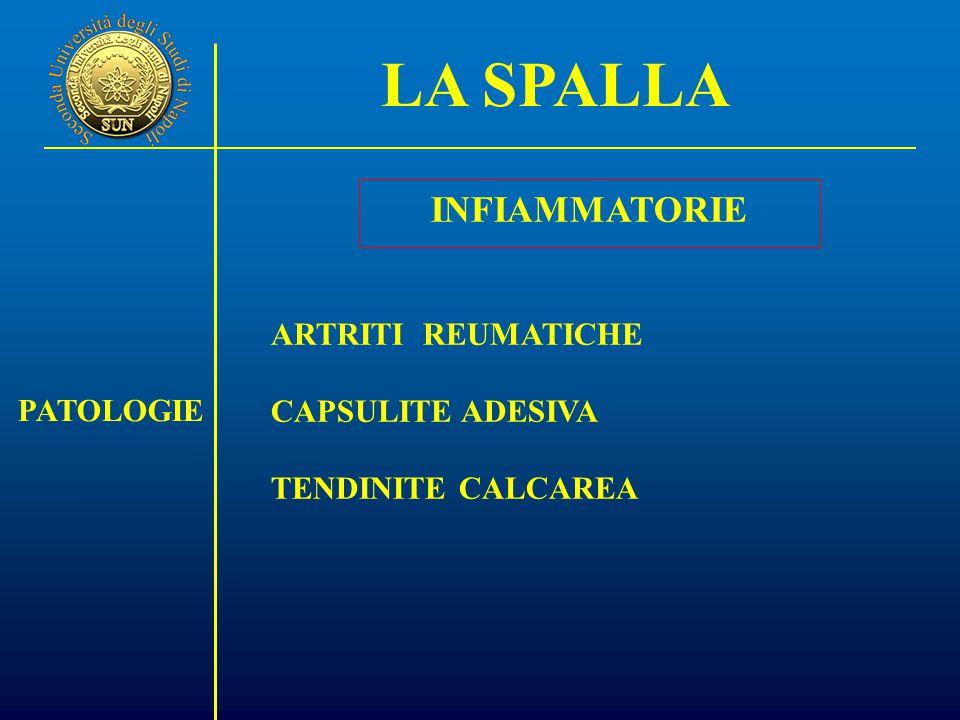 LA SPALLA PATOLOGIE INFIAMMATORIE ARTRITI REUMATICHE CAPSULITE ADESIVA TENDINITE CALCAREA