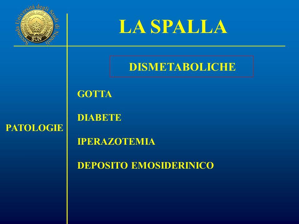 LA SPALLA PATOLOGIE DISMETABOLICHE GOTTA DIABETE IPERAZOTEMIA DEPOSITO EMOSIDERINICO