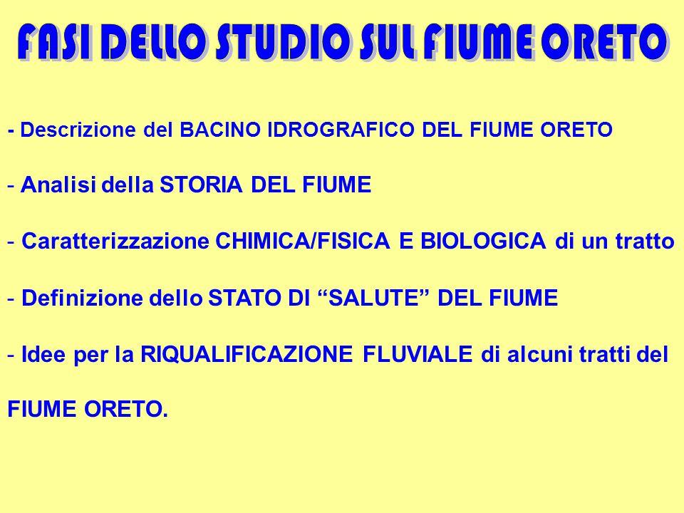 - Descrizione del BACINO IDROGRAFICO DEL FIUME ORETO - Analisi della STORIA DEL FIUME - Caratterizzazione CHIMICA/FISICA E BIOLOGICA di un tratto - Definizione dello STATO DI SALUTE DEL FIUME - Idee per la RIQUALIFICAZIONE FLUVIALE di alcuni tratti del FIUME ORETO.
