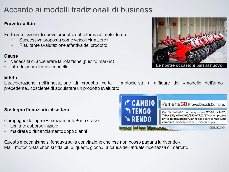 Accanto ai modelli tradizionali di business … Forzato sell-in Forte immissione di nuovo prodotto sotto forma di moto demo Successiva proposta come vei