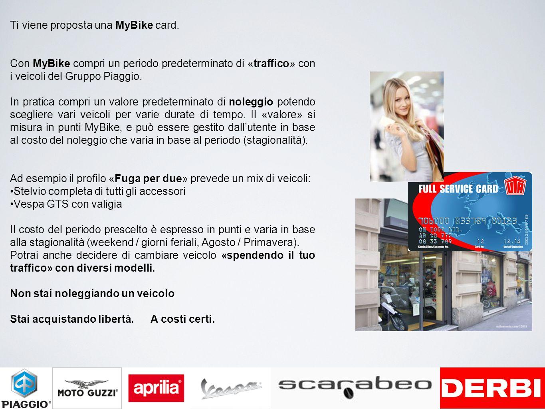 Ti viene proposta una MyBike card. Con MyBike compri un periodo predeterminato di «traffico» con i veicoli del Gruppo Piaggio. In pratica compri un va