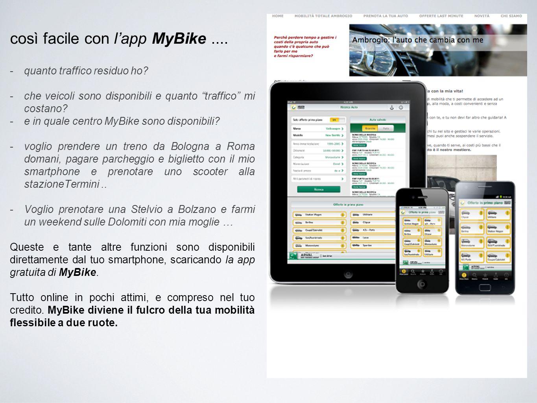 """così facile con l'app MyBike.... -quanto traffico residuo ho? -che veicoli sono disponibili e quanto """"traffico"""" mi costano? -e in quale centro MyBike"""