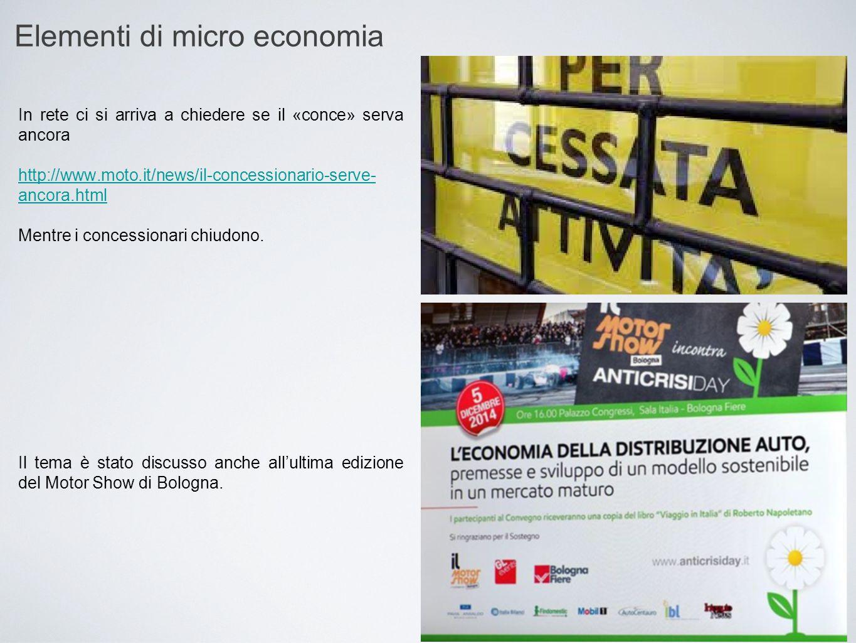Elementi di micro economia In rete ci si arriva a chiedere se il «conce» serva ancora http://www.moto.it/news/il-concessionario-serve- ancora.html Men