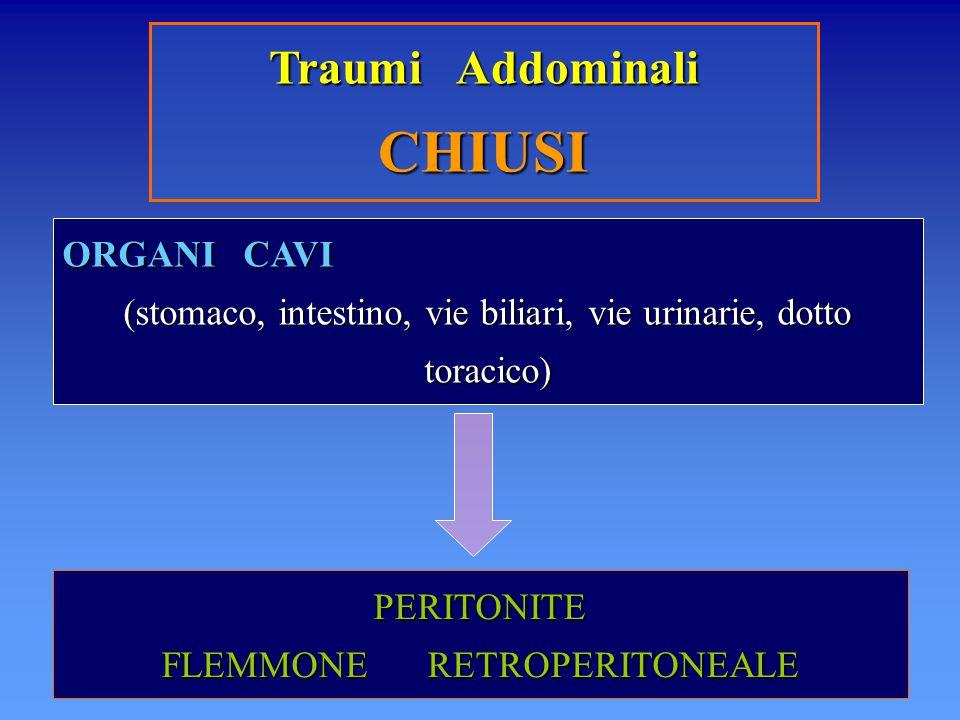 Traumi Addominali CHIUSI ORGANI CAVI (stomaco, intestino, vie biliari, vie urinarie, dotto toracico) PERITONITE FLEMMONE RETROPERITONEALE