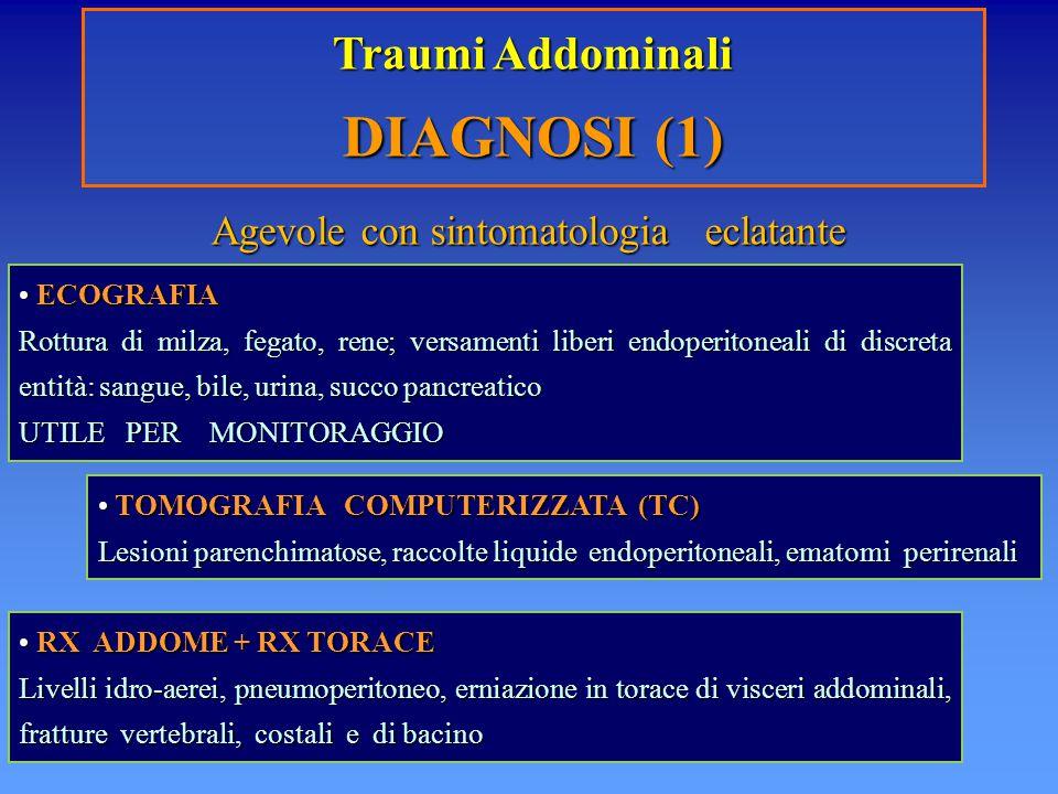 Traumi Addominali DIAGNOSI (1) ECOGRAFIA ECOGRAFIA Rottura di milza, fegato, rene; versamenti liberi endoperitoneali di discreta entità: sangue, bile,