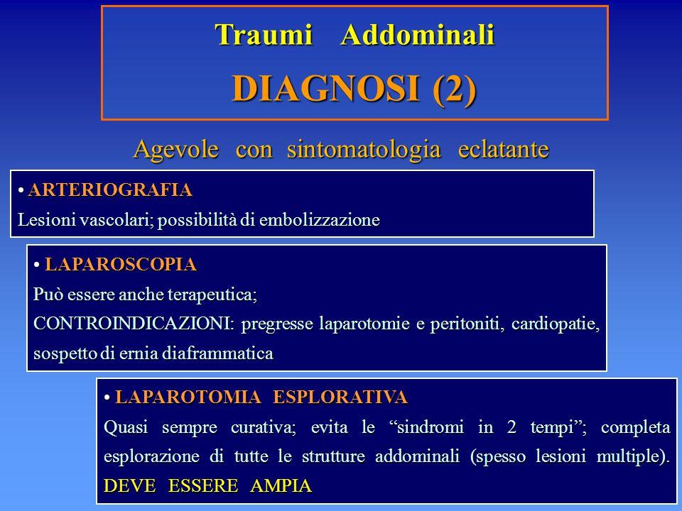 Traumi Addominali DIAGNOSI (2) ARTERIOGRAFIA ARTERIOGRAFIA Lesioni vascolari; possibilità di embolizzazione LAPAROSCOPIA LAPAROSCOPIA Può essere anche