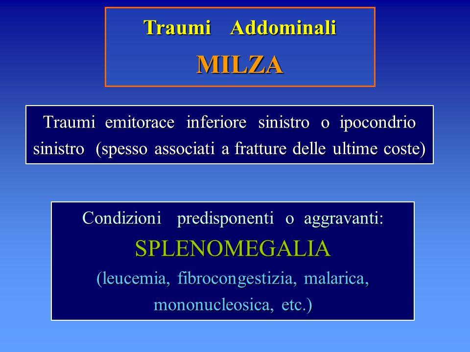 Traumi Addominali MILZA Traumi emitorace inferiore sinistro o ipocondrio sinistro (spesso associati a fratture delle ultime coste) Condizioni predispo