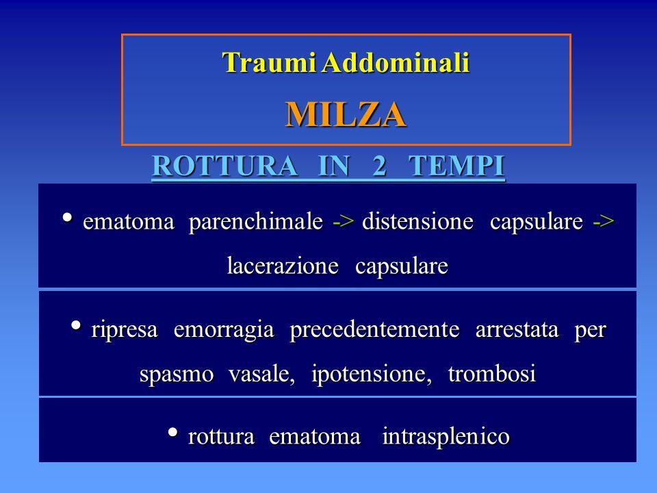 Traumi Addominali MILZA ROTTURA IN 2 TEMPI ematoma parenchimale -> distensione capsulare -> lacerazione capsulare ematoma parenchimale -> distensione