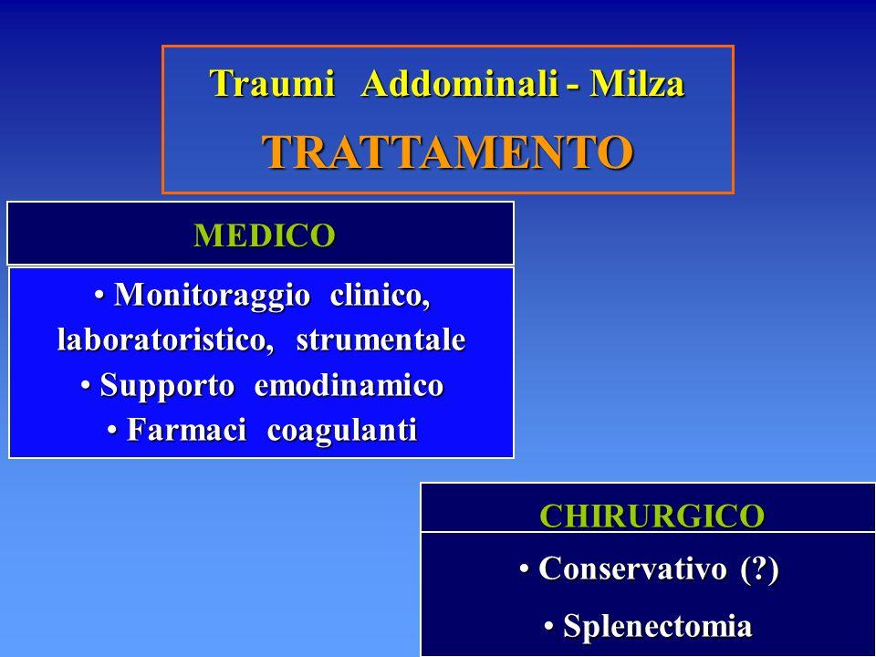 Traumi Addominali - Milza TRATTAMENTO MEDICO MEDICO Monitoraggio clinico, laboratoristico, strumentale Monitoraggio clinico, laboratoristico, strument