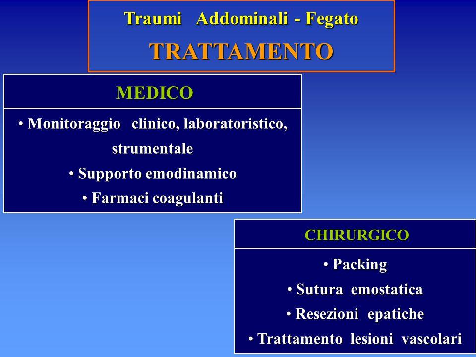 Traumi Addominali - Fegato TRATTAMENTO MEDICO MEDICO Monitoraggio clinico, laboratoristico, strumentale Monitoraggio clinico, laboratoristico, strumen