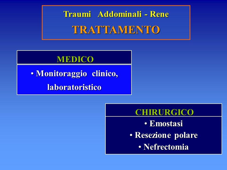 Traumi Addominali - Rene TRATTAMENTO MEDICO MEDICO CHIRURGICO CHIRURGICO Monitoraggio clinico, laboratoristico Monitoraggio clinico, laboratoristico E