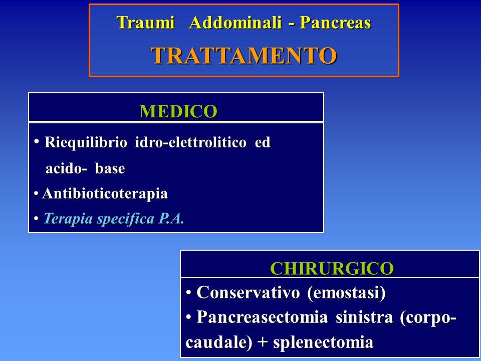 Traumi Addominali - Pancreas TRATTAMENTO MEDICO MEDICO Riequilibrio idro-elettrolitico ed Riequilibrio idro-elettrolitico ed acido- base acido- base A