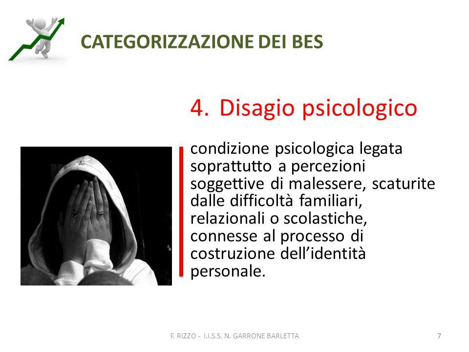 7 CATEGORIZZAZIONE DEI BES 4.Disagio psicologico condizione psicologica legata soprattutto a percezioni soggettive di malessere, scaturite dalle difficoltà familiari, relazionali o scolastiche, connesse al processo di costruzione dell'identità personale.
