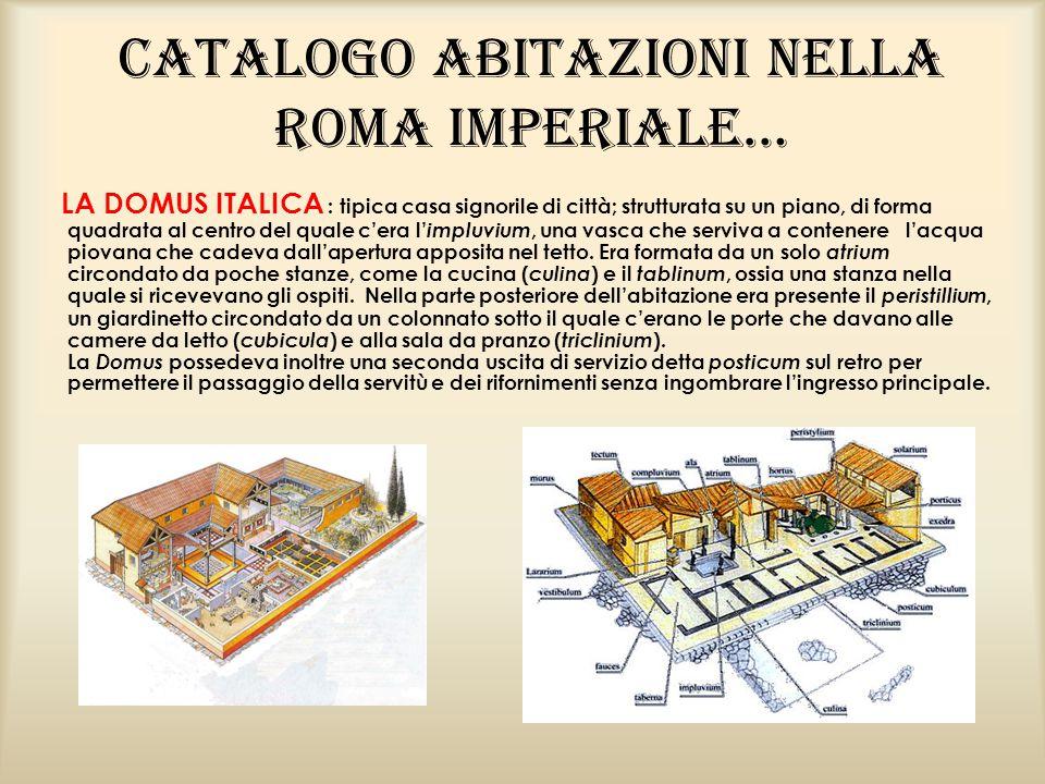 Catalogo abitazioni nella Roma Imperiale… LA DOMUS ITALICA : tipica casa signorile di città; strutturata su un piano, di forma quadrata al centro del quale c'era l' impluvium, una vasca che serviva a contenere l'acqua piovana che cadeva dall'apertura apposita nel tetto.