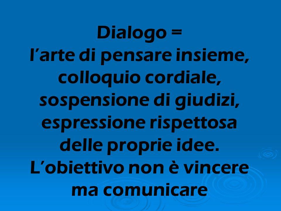 Dialogo = l'arte di pensare insieme, colloquio cordiale, sospensione di giudizi, espressione rispettosa delle proprie idee. L'obiettivo non è vincere