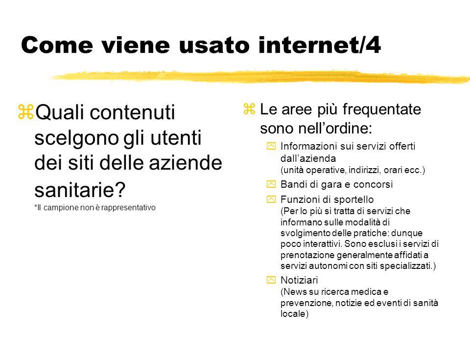 Come viene usato internet/4 zQuali contenuti scelgono gli utenti dei siti delle aziende sanitarie? *Il campione non è rappresentativo zLe aree più fre