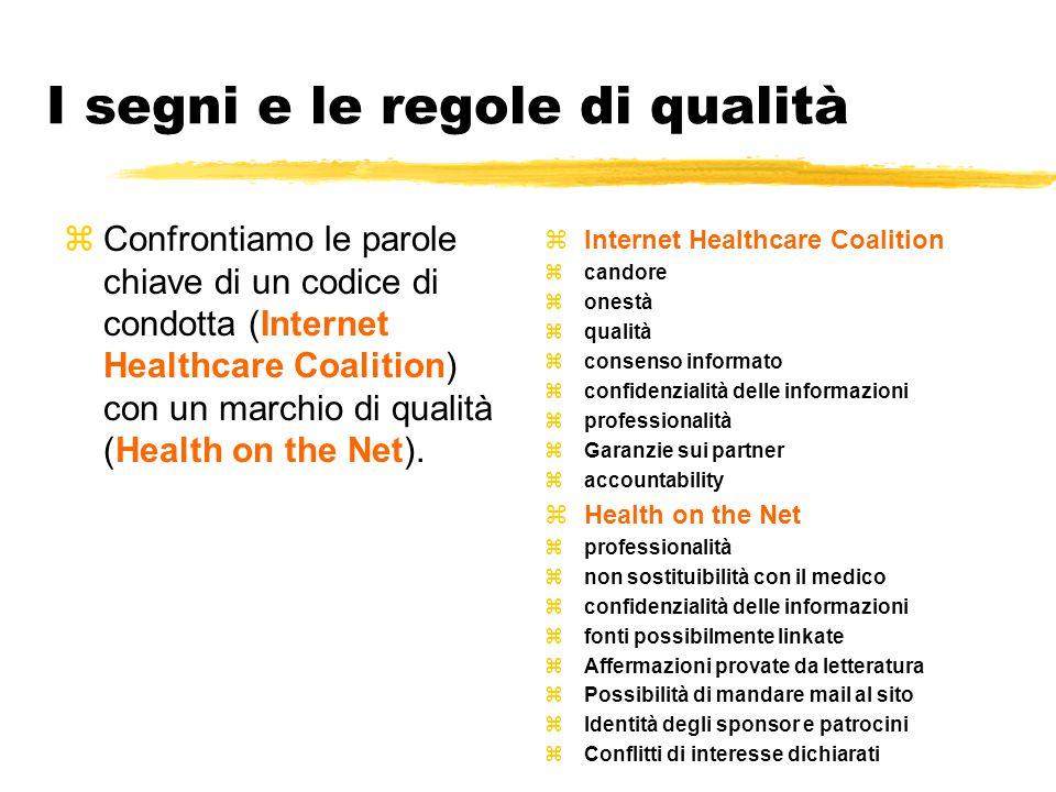 I segni e le regole di qualità zConfrontiamo le parole chiave di un codice di condotta (Internet Healthcare Coalition) con un marchio di qualità (Health on the Net).