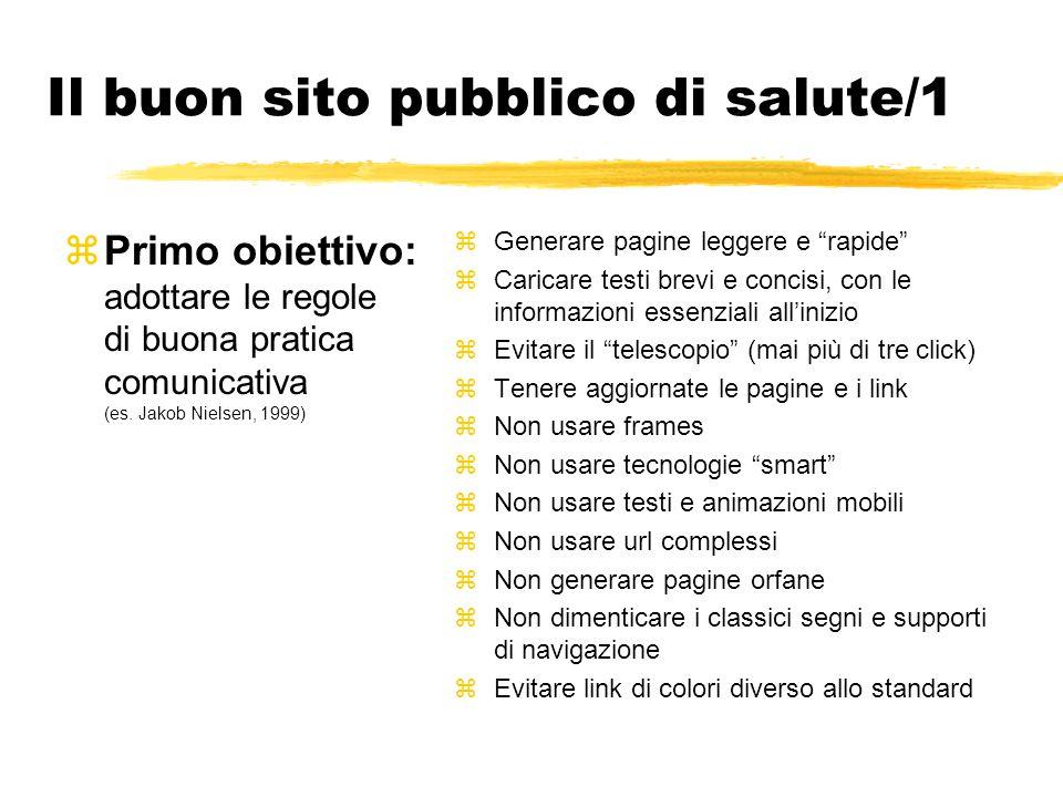 Il buon sito pubblico di salute/1 zPrimo obiettivo: adottare le regole di buona pratica comunicativa (es. Jakob Nielsen, 1999) zGenerare pagine legger