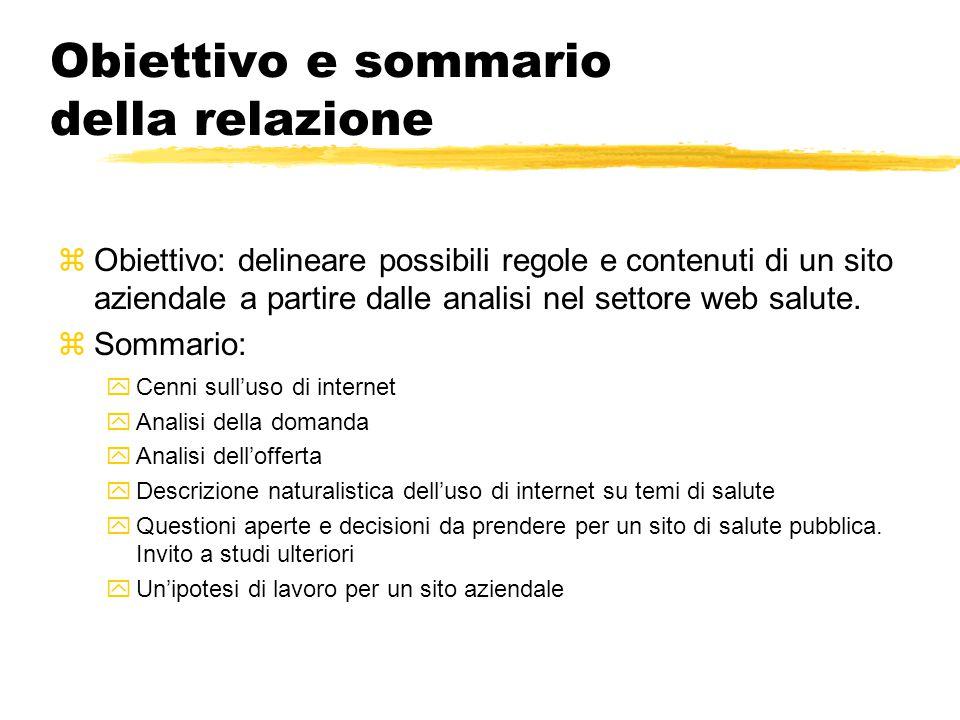 Obiettivo e sommario della relazione zObiettivo: delineare possibili regole e contenuti di un sito aziendale a partire dalle analisi nel settore web salute.