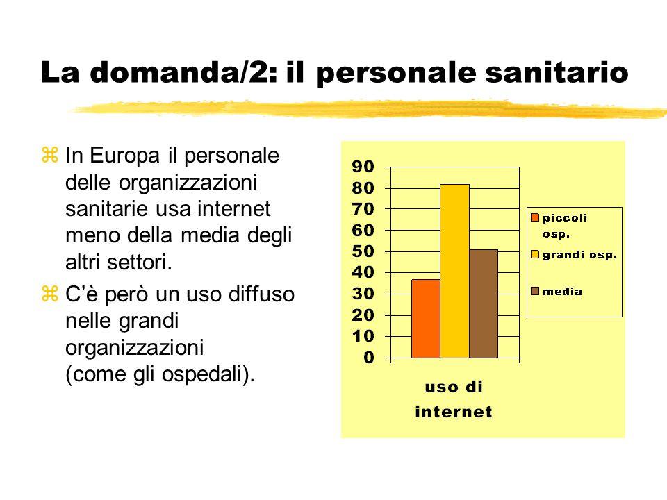 Un'offerta immatura/1 zDi 15 settori economici presi in esame su 9.200 imprese ed enti europei, la sanità è quello che usa meno la rete (E-business Watch) zUso dell'e-learning = 16% delle aziende sanitarie (vs 19% media europea altri settori) zUso dell'e-procurement = 6% delle aziende sanitarie (livello molto basso) zUso dell'e-government = per ora solo potenziale