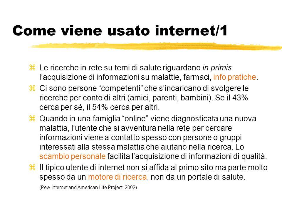 Come viene usato internet/1 zLe ricerche in rete su temi di salute riguardano in primis l'acquisizione di informazioni su malattie, farmaci, info prat