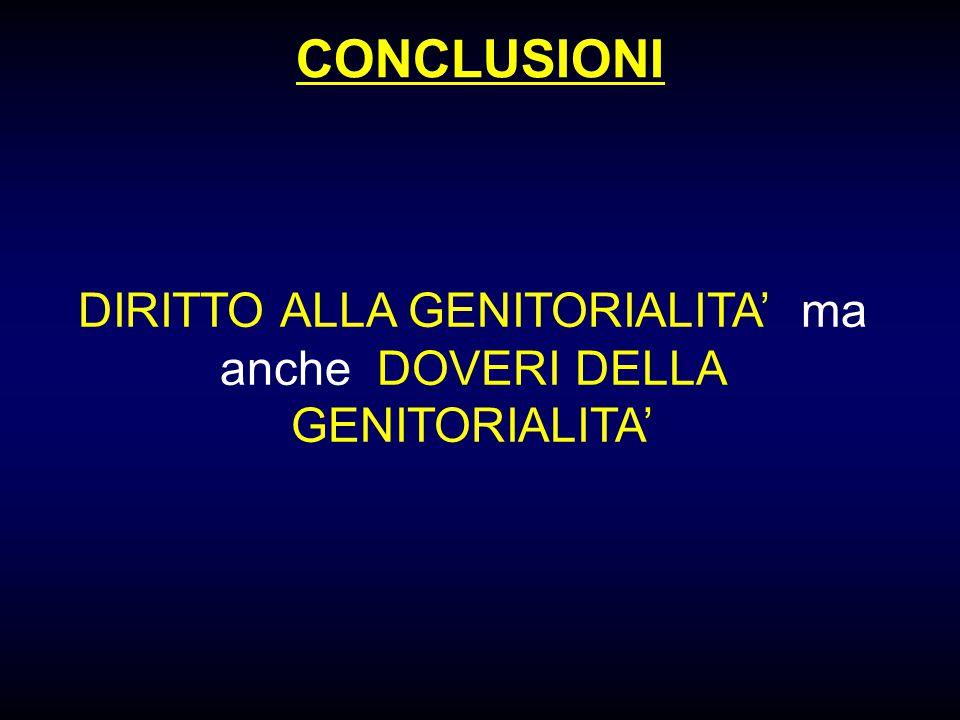 CONCLUSIONI DIRITTO ALLA GENITORIALITA' ma anche DOVERI DELLA GENITORIALITA'