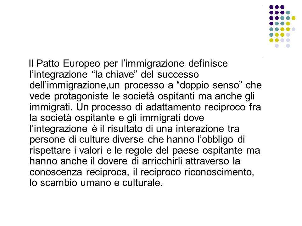 Il Patto Europeo per l'immigrazione definisce l'integrazione la chiave del successo dell'immigrazione,un processo a doppio senso che vede protagoniste le società ospitanti ma anche gli immigrati.