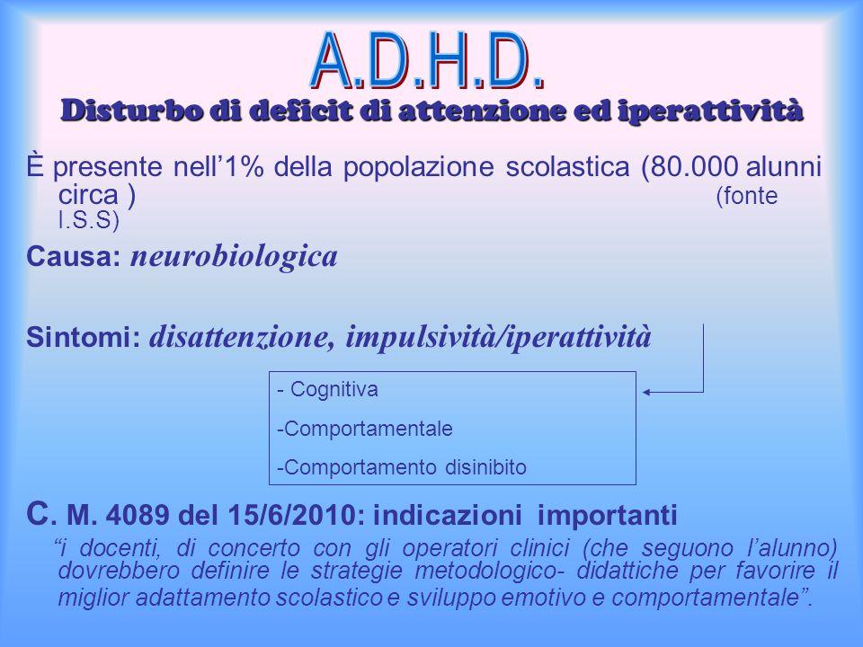 Disturbo di deficit di attenzione ed iperattività È presente nell'1% della popolazione scolastica (80.000 alunni circa ) (fonte I.S.S) Causa: neurobio
