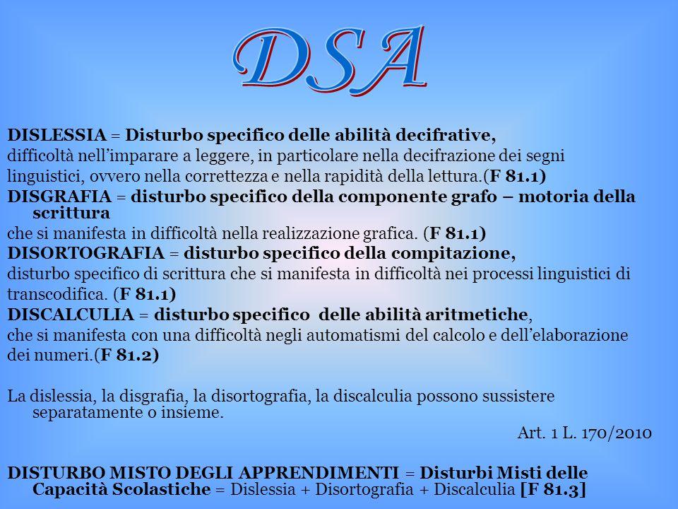 DISLESSIA = Disturbo specifico delle abilità decifrative, difficoltà nell'imparare a leggere, in particolare nella decifrazione dei segni linguistici,