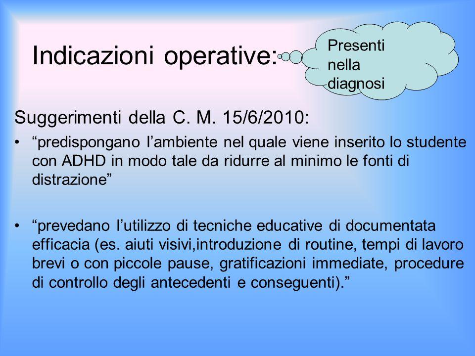"""Indicazioni operative: Suggerimenti della C. M. 15/6/2010: """"predispongano l'ambiente nel quale viene inserito lo studente con ADHD in modo tale da rid"""