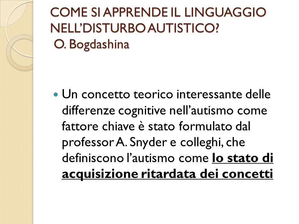 COME SI APPRENDE IL LINGUAGGIO NELL'DISTURBO AUTISTICO? O. Bogdashina Un concetto teorico interessante delle differenze cognitive nell'autismo come fa