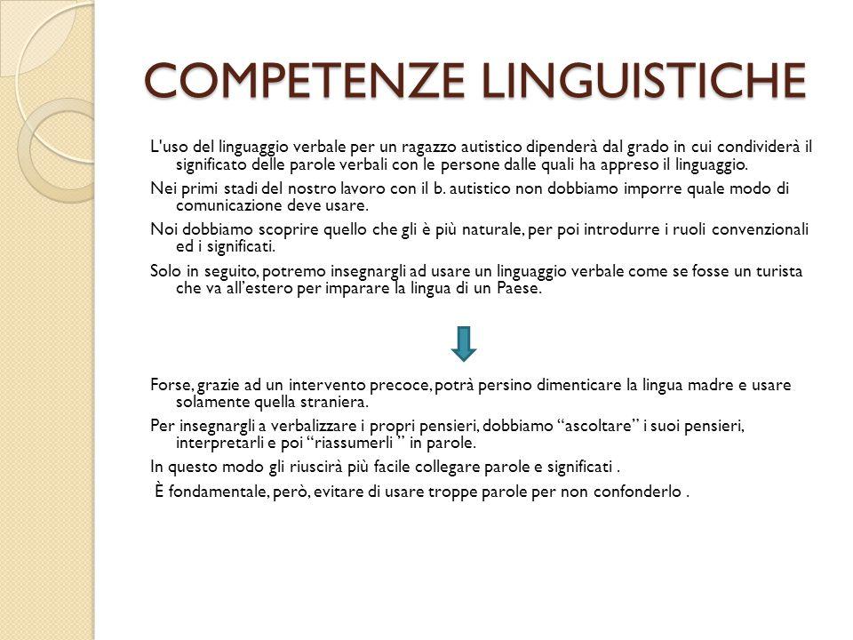 COMPETENZE LINGUISTICHE L'uso del linguaggio verbale per un ragazzo autistico dipenderà dal grado in cui condividerà il significato delle parole verba