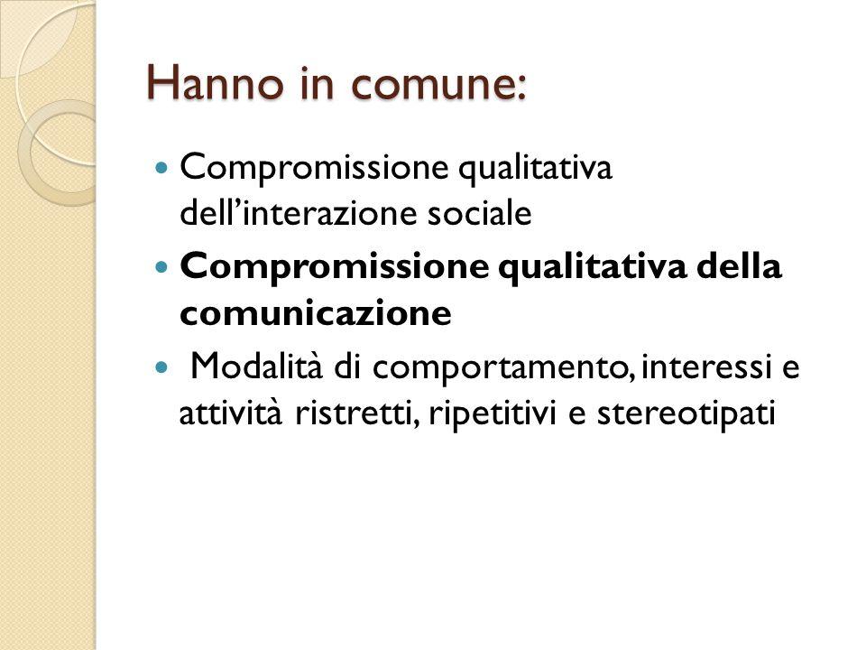 Hanno in comune: Compromissione qualitativa dell'interazione sociale Compromissione qualitativa della comunicazione Modalità di comportamento, interes