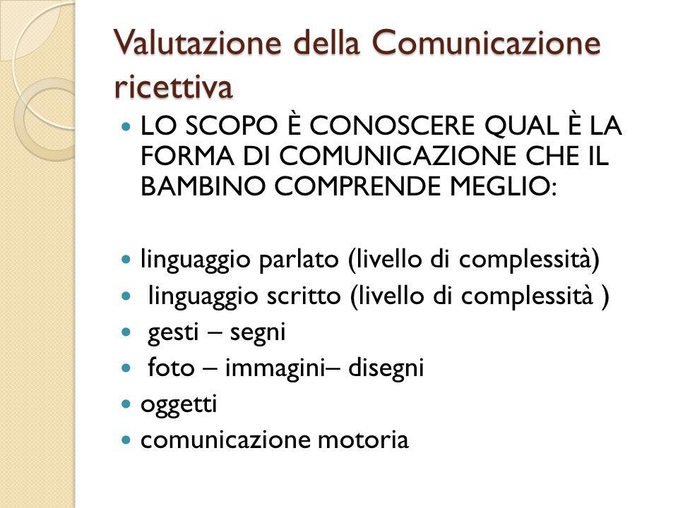 Valutazione della Comunicazione ricettiva LO SCOPO È CONOSCERE QUAL È LA FORMA DI COMUNICAZIONE CHE IL BAMBINO COMPRENDE MEGLIO: linguaggio parlato (l