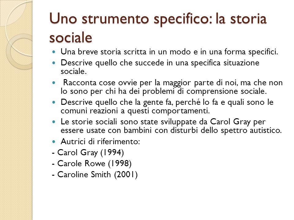 Uno strumento specifico: la storia sociale Una breve storia scritta in un modo e in una forma specifici. Descrive quello che succede in una specifica