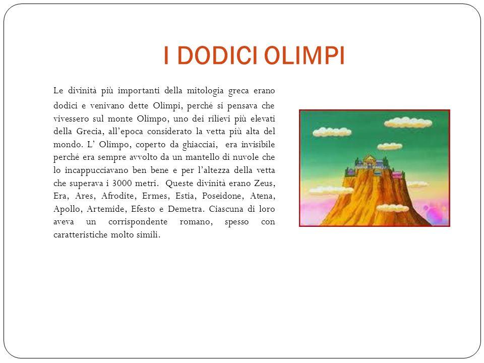 I DODICI OLIMPI Le divinità più importanti della mitologia greca erano dodici e venivano dette Olimpi, perché si pensava che vivessero sul monte Olimpo, uno dei rilievi più elevati della Grecia, all'epoca considerato la vetta più alta del mondo.