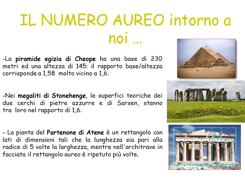 IL NUMERO AUREO intorno a noi … -La piramide egizia di Cheope ha una base di 230 metri ed una altezza di 145: il rapporto base/altezza corrisponde a 1,58 molto vicino a 1,6.