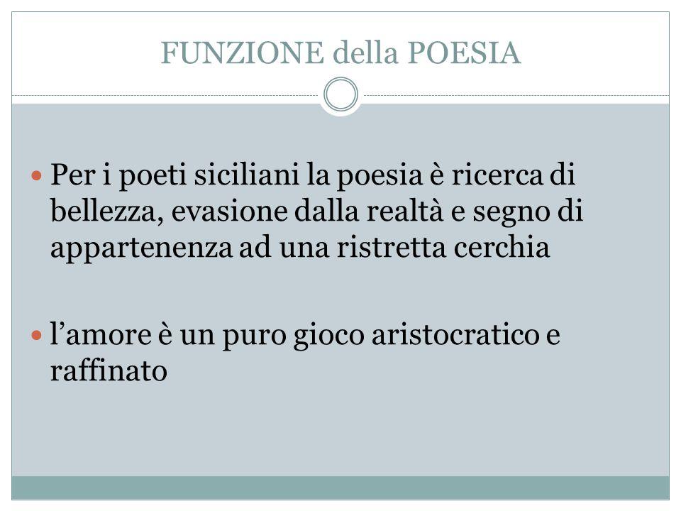 FUNZIONE della POESIA Per i poeti siciliani la poesia è ricerca di bellezza, evasione dalla realtà e segno di appartenenza ad una ristretta cerchia l'