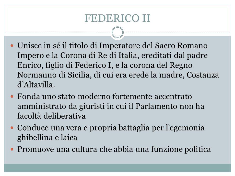 FEDERICO II Unisce in sé il titolo di Imperatore del Sacro Romano Impero e la Corona di Re di Italia, ereditati dal padre Enrico, figlio di Federico I