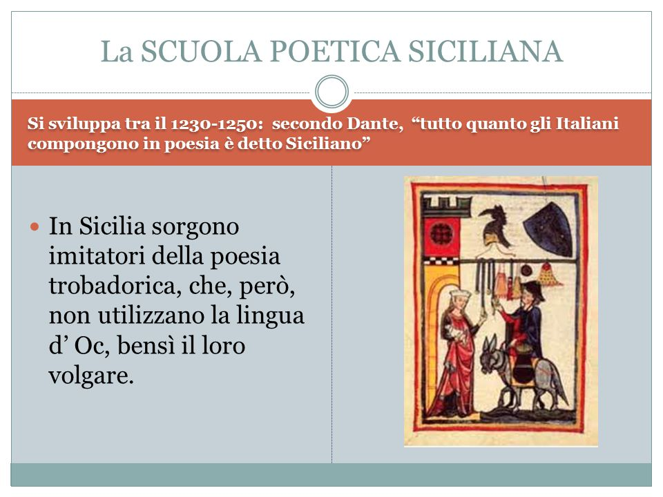 """Si sviluppa tra il 1230-1250: secondo Dante, """"tutto quanto gli Italiani compongono in poesia è detto Siciliano"""" In Sicilia sorgono imitatori della poe"""