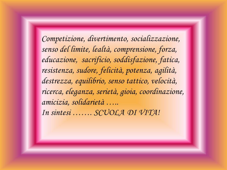 Competizione, divertimento, socializzazione, senso del limite, lealtà, comprensione, forza, educazione, sacrificio, soddisfazione, fatica, resistenza, sudore, felicità, potenza, agilità, destrezza, equilibrio, senso tattico, velocità, ricerca, eleganza, serietà, gioia, coordinazione, amicizia, solidarietà …..