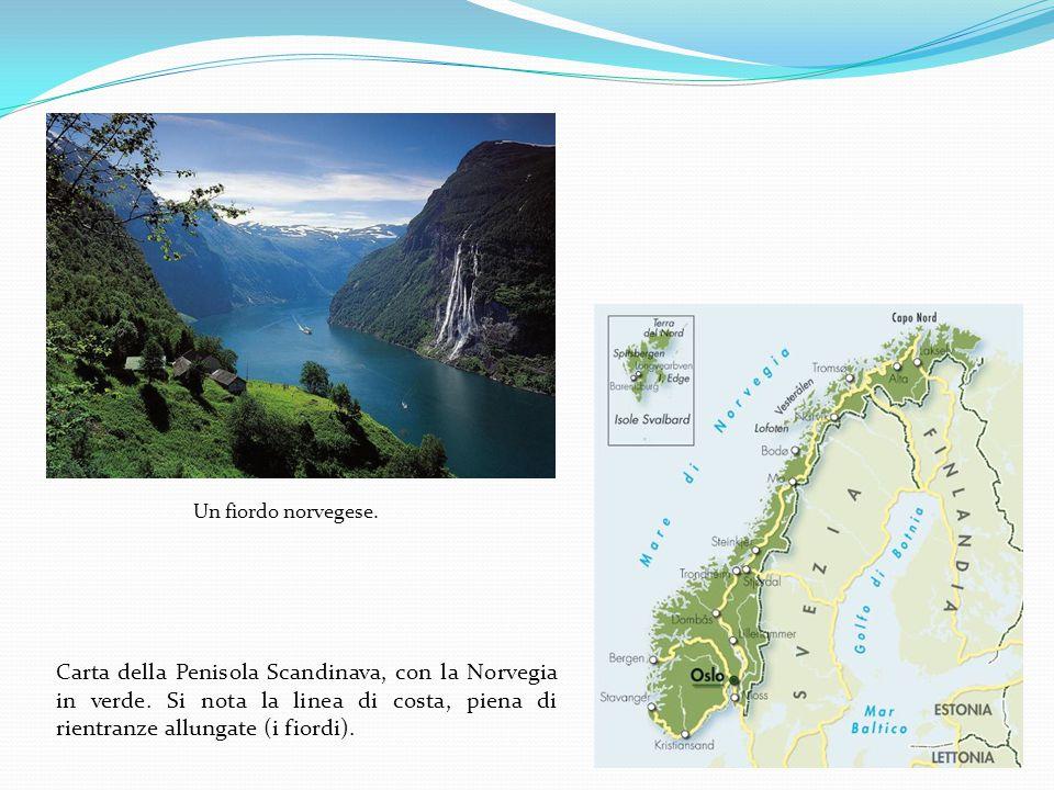 Un fiordo norvegese. Carta della Penisola Scandinava, con la Norvegia in verde. Si nota la linea di costa, piena di rientranze allungate (i fiordi).