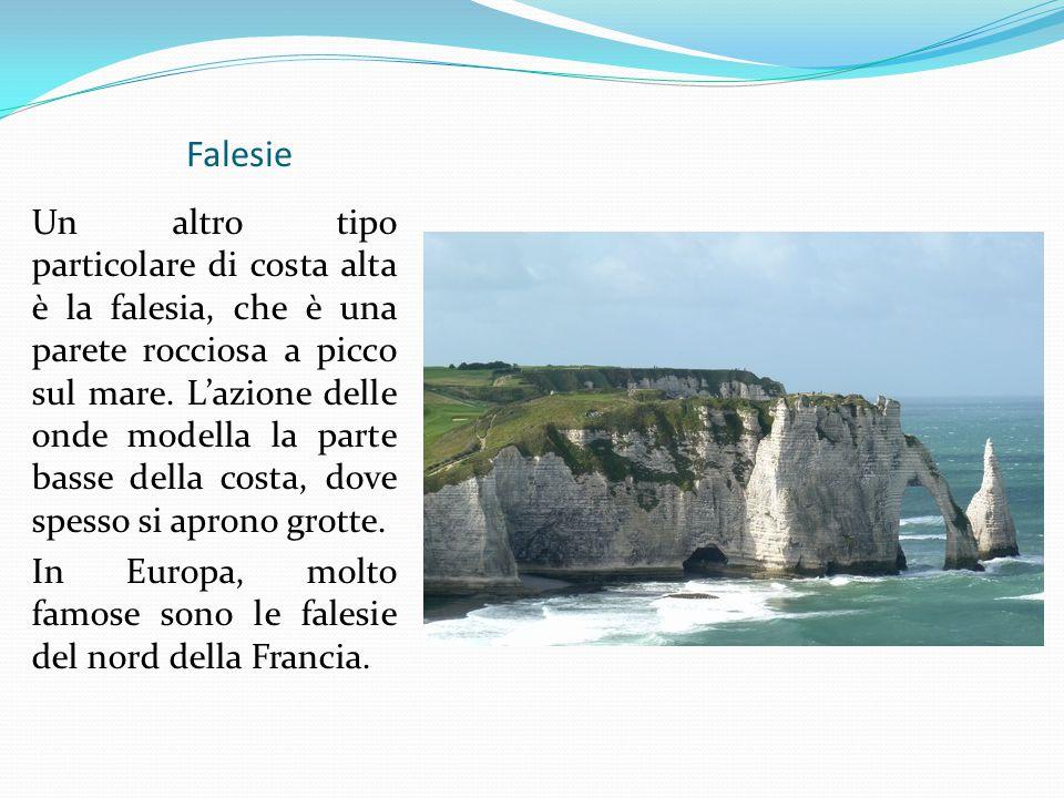 Falesie Un altro tipo particolare di costa alta è la falesia, che è una parete rocciosa a picco sul mare. L'azione delle onde modella la parte basse d
