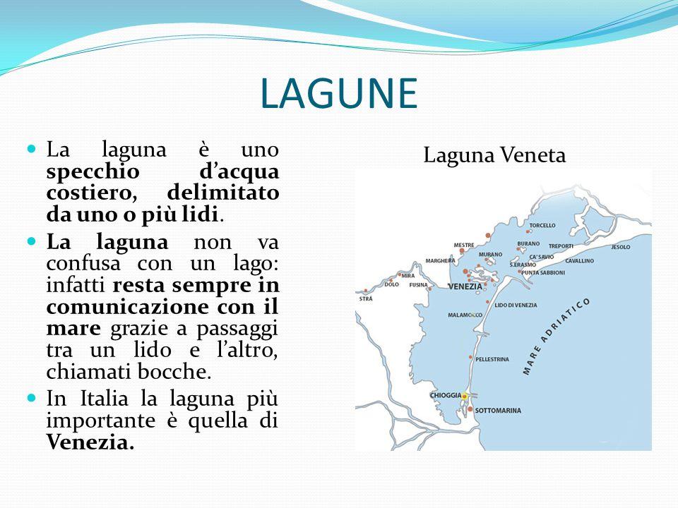 LAGUNE La laguna è uno specchio d'acqua costiero, delimitato da uno o più lidi. La laguna non va confusa con un lago: infatti resta sempre in comunica