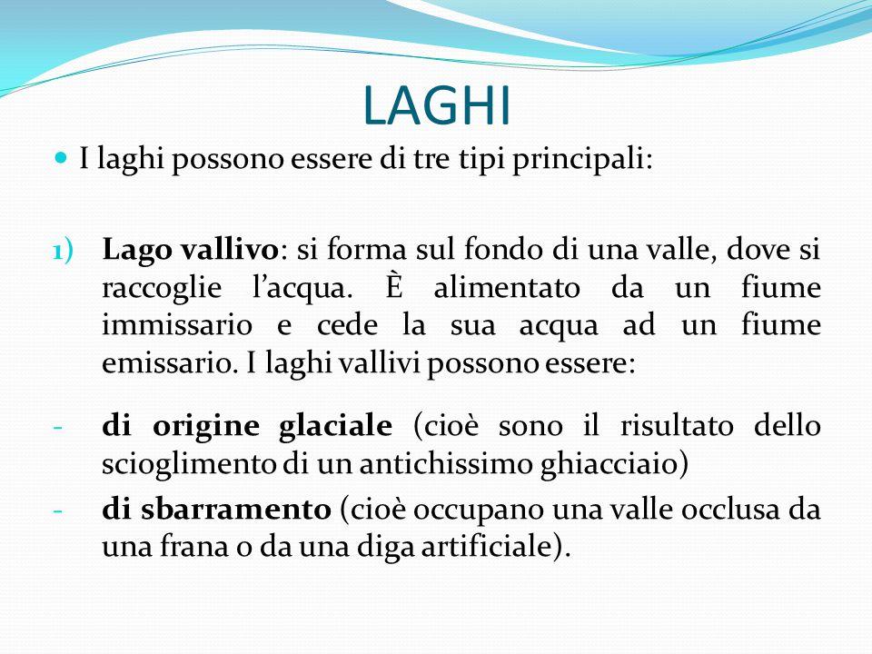 LAGHI I laghi possono essere di tre tipi principali: 1) Lago vallivo: si forma sul fondo di una valle, dove si raccoglie l'acqua. È alimentato da un f