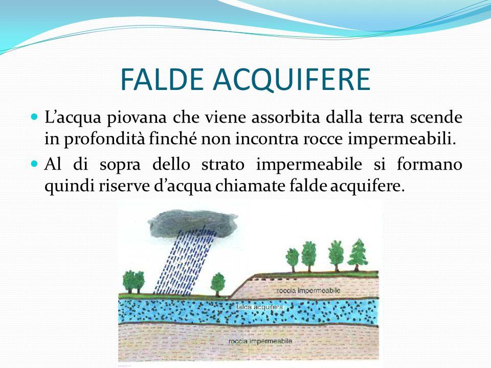 FALDE ACQUIFERE L'acqua piovana che viene assorbita dalla terra scende in profondità finché non incontra rocce impermeabili. Al di sopra dello strato